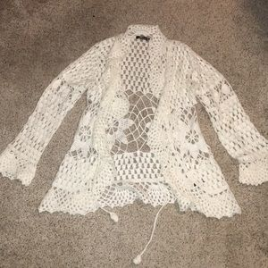 Sweaters - White Knit Cardigan